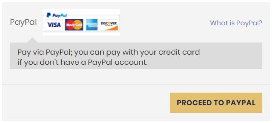 """At checkout, fill out the address field, then scroll to the bottom and click """"Proceed to Paypal"""""""
